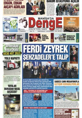 Manisa Denge Gazetesi - 21.01.2020 Manşeti